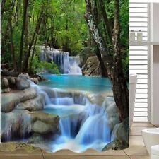 "79*71"" Bathroom Shower Curtain Polyester Fabric Waterproof Nature Decor 12 Hooks"