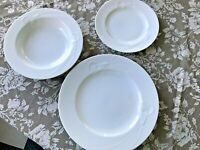 3 Pieces Mikasa Japan CLASSIC FLAIR WHITE 1 Dinner 1 Salad 1 Rimmed Soup UNUSED
