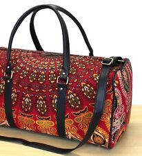 Indian Duffle Sports Gym Bag Unisex Travel Bags Red Multi Mandala Cotton Handbag