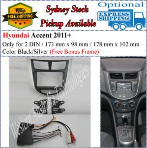 Harness + Fascia facia Fits Hyundai Accent 2011-2015 Black/Silver Two 2 DIN