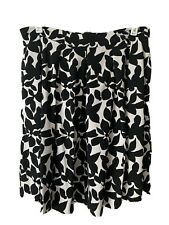 Cynthia Rowley Black & White Floral Skirt Womens Size M Pockets Pleated A-Line