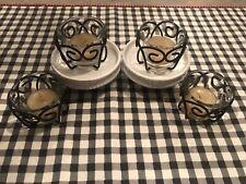 Set Of 4 Black Scroll Metal & Glass Tea-light Holders Partylite Home Interiors