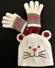 Little Girls Winter Kitty Cat Pink Nose Hat With Knit Fleece Gloves Lined