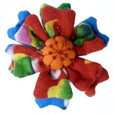 Pince à cheveux bibi broche fleur tissu multicolore rouge vert tissu ethnique