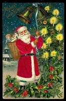 ~SILK~Santa Claus with Basket of Toys~ Holly~Antique~Christmas Postcard-s105