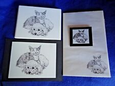 Cat and Dog Friends 4 Piece Set-Notepad, 6 Blank Notecards, Print and Magnet