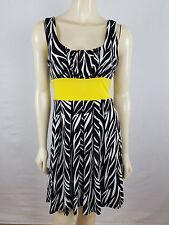 XOXO Sleeveless pull over Empire Waist Black, Yellow and White dress size M