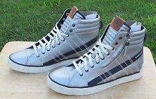 Diesel Men's D-String Plus High-Top Silver/Black Leather Sneakers Shoes Sz 8
