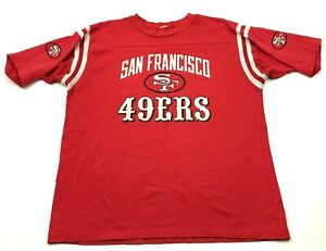 Vintage NFL San Francisco 49ers Chemise Taille L Rouge Blanc Football Tee Logo