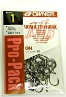 OWNER MOSQUITO HOOK BASS FISHING BLACK CHROME FINE WIRE #5377-101 SZ 1 QTY 46