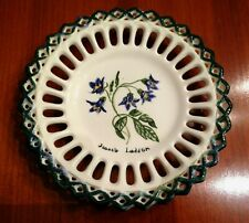 Hand Painted Porcelain Reticulated Lattice Plate, Jacob's Ladder Floral, Signed