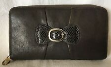 SEE by CHLOE Grey Leather Zip Around Wallet Clutch Purse-NICE