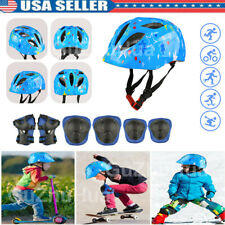 7pcs Boys Girls Kids Safety Skating Bike Helmet Knee Elbow Protective Gear Set