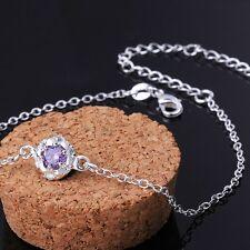 Anklet Adjustable Free Gift Bag Sterling Silver 925 Round Purple Crystal
