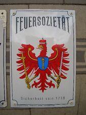 Versicherungsschild + Feuersozietät Brandenburg + Emailschild - Neuauflage Repro
