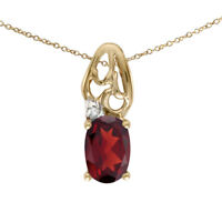 "14k Yellow Gold Oval Garnet And Diamond Pendant with 18"" Chain"