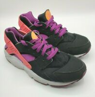 Nike Huarache Run GS Girls Sneakers Shoes SZ 7Y Black Pink Purple 654280-001
