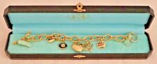 "Juicy Couture Gold Tone Link Chain 7"" Bracelet & 5 Gold Tone Charms Cupids Arrow"