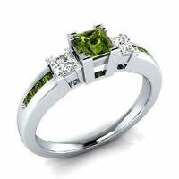 Solide 925 Silber Ring natürliche Edelstein Verlobung Hochzeit Damen Schmuck Neu