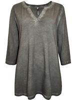 Sheego ladies t-shirt top plus size 14-32 dark grey sequins sparkle oil washed