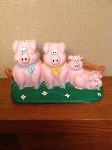 Vintage Cast Iron Door Stop Four Pink Pigs Free Standing Home Decor