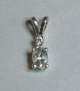 Genuine 0.42ct 6x4mm Aquamarine & Diamond Accented Sterling 925 Silver Pendant
