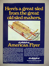 Gladding American Flyer Sled 2-Page PRINT AD - 1973 ~ Flying Disc, sleds