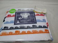 Beco Home Dream Boy CARS TRUCKS Twin Sheet Set - Red, Orange, Blue, Grey New