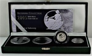 2005 Royal Mint Britannia 1/4oz Silver Proof 50p coin, COA Box + 3 capsules