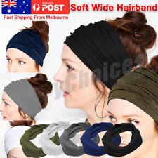 Unisex Wide Headband Sweatband Stretch Elastic Sport Gym Yoga Run Solid Hairband