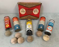 Rare Vintage Spalding Tin Tennis Ball Can & Box Lot 1930's 40's & 50's Unique