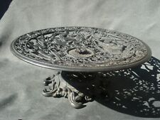 Vintage 30's cast iron compote Emig ornate bowl Greek mythology Nymphs Neptune