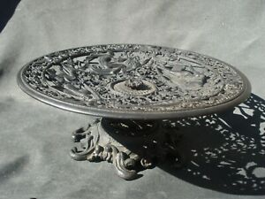 Vintage 30's cast iron compote Emig ornate bowl Greek mythology Nymphs Neptune
