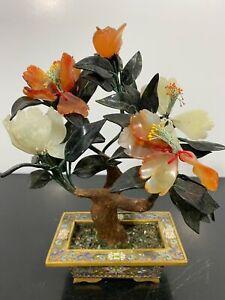 Vtg Chinese Bonsai Blossom Agate Jade Enamel Cloisonné Feng Shui Tree Art Statue
