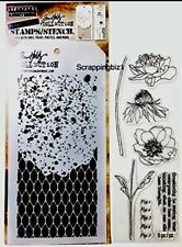 Tim Holtz Blossom Flowers Clear STAMPS & DUO STENCIL set MIXED MEDIA Stencils