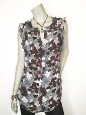 New CAbi #3618 Small Weaver Floral Lined V Neck Ruffle Top Shirt Blouse