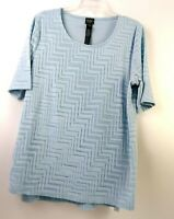 Travelers Collection By Chicos Womens BLouse Size 2 Light BLue Short Sleeve EUC