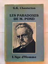 LES PARADOXES DE MONSIEUR POND 1985 CHESTERTON