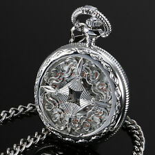 Ess Hand Winding Mechanical Pocket Watch Silver Case Stainless Steel Black