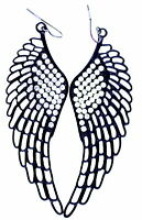 Large punk goth style cutout black angel wing / wings earrings with crystal