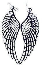 Grande punk ritaglio stile goth angelo nero ala / ali orecchini con cristalli