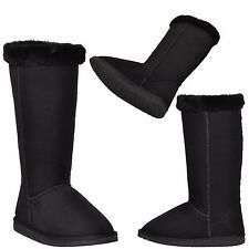Women's Mid Calf Boots Low Heel Pull On Shoes w/ Faux Fur Collar Trimmed Black