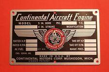 Unused Factory Continental 470 E165 E185 E225 Data Plate, FREE Domestic Ship!