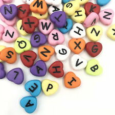 DIY 100pcs Acrylic Random Mixed color Heart Letter/ Alphabet Spacer Beads 11mm