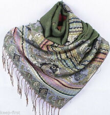 Women's Pashmina Silk Cashmere Wool Shawl Scarf Stole Long Fringe Wrap New