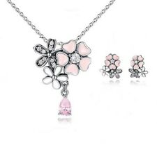 925 Sterling Silver poetic bloom necklace with chain earrings set + gift box
