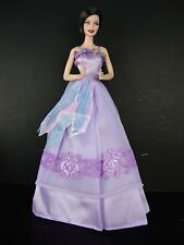 Purple Gown with Purple Lace on the Front & Sequined Leaves on the Waist
