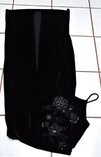 ALL THAT JAZZ Dress Spagetti Strap Velvet Black/Silver Metalic/Rhinestones SZ M