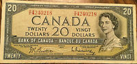 1954 BANK OF CANADA 20 DOLLARS BANK NOTE