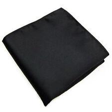 10X(Men's PockeHanky Plain Color Wedding Party Square Hankerchief (Black) M D3F8